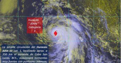 'John' se degrada a huracán categoría 1